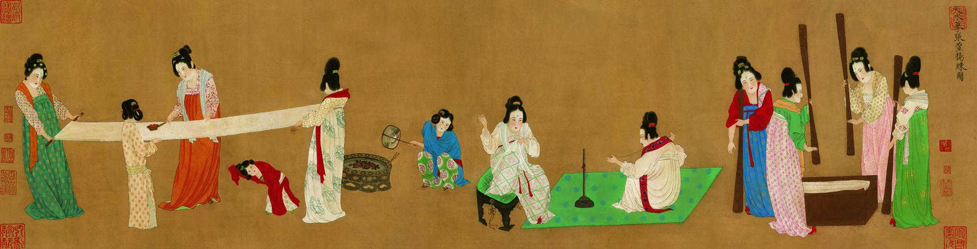 唐 张萱 捣练 绢本 37X145.3cm近现代  花纹清晰