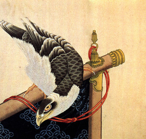 hawk-on-a-ceremonial-stand