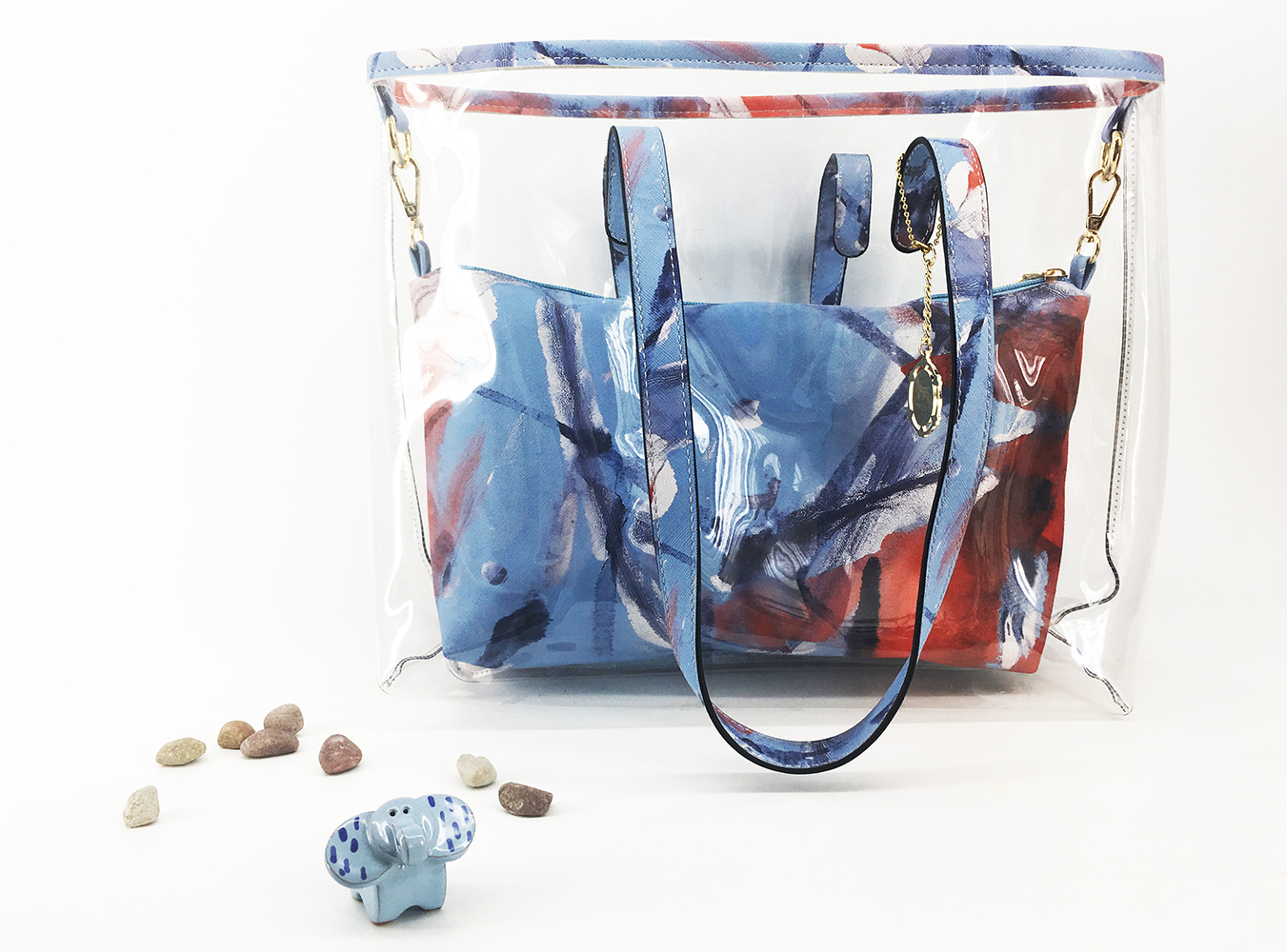 JE Artist Clear Tote Bag Abstract  Colour