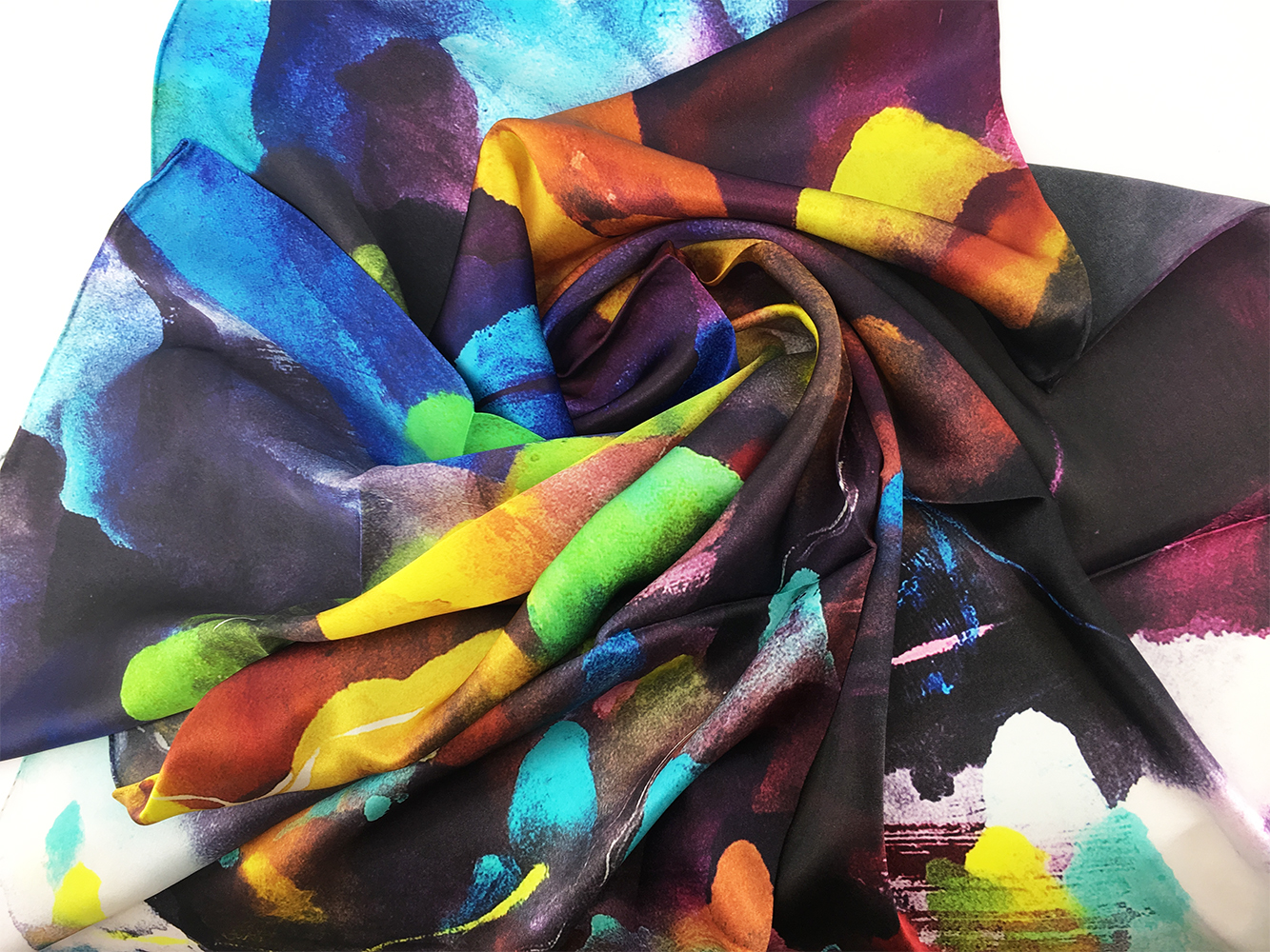 JE Artist Rainbow Mountains Silk Scarf