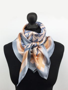 Chinoiserie Floral Silk Scarf, Gray