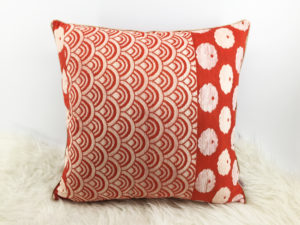 Japanese Cushion, Red Velvet Cushion 3