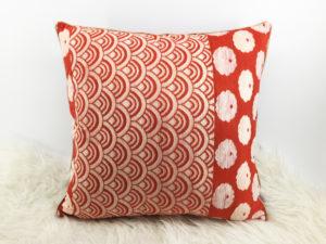 Japanese Cushion, Red Velvet Cushion 3